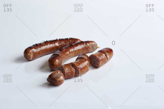 Sliced, cooked sausages