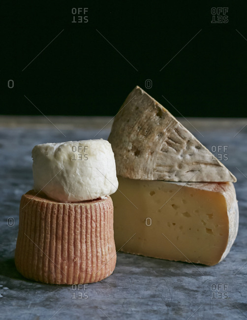 Group of different gourmet cheese