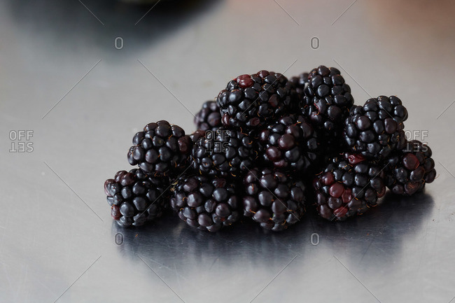 Close-up of freshly picked blackberries