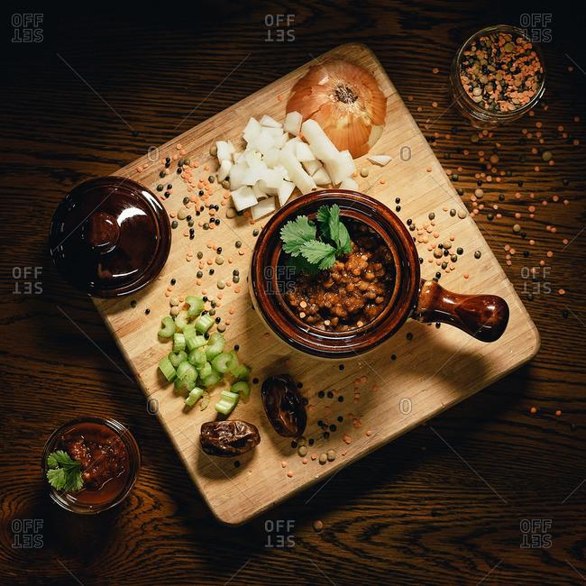 Bowl of lentil and bean soup