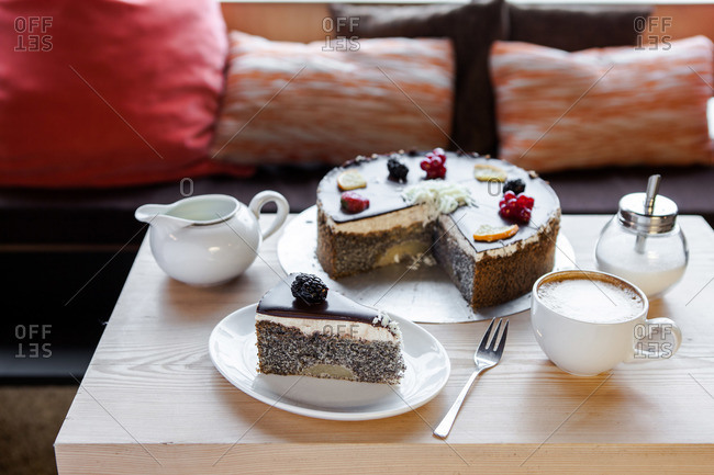 Cake served on a coffee table