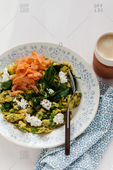 Eggs with vegetables and salmon