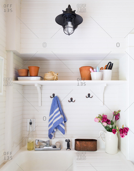 Utility sink in a rustic country home