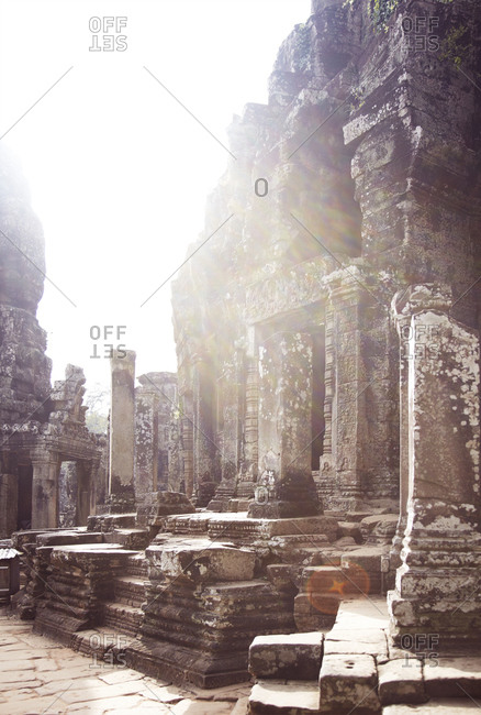 Ruins of ancient stone temple complex at  in Cambodia