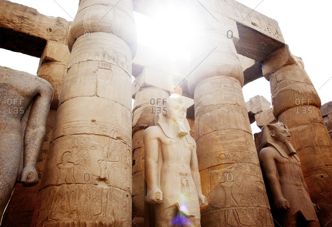 Stone figures of Luxor Temple in Egypt