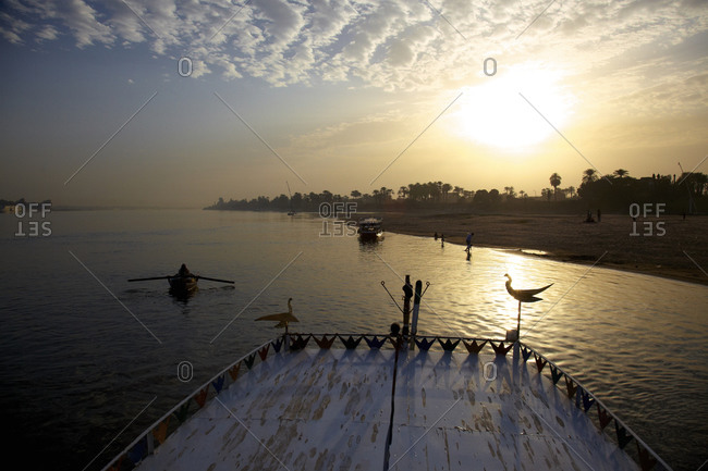 Boats on Nile River in Egypt