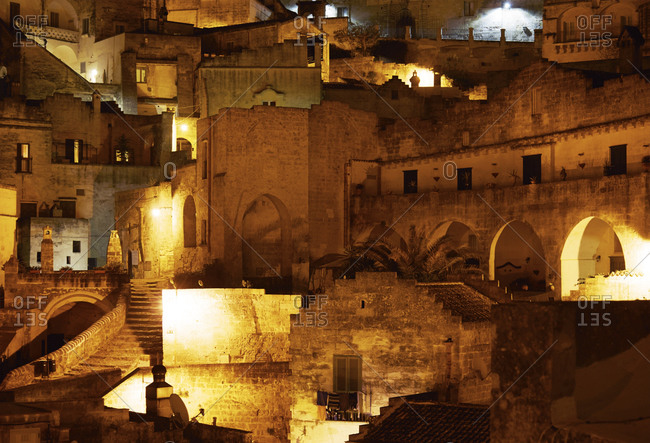 Stone buildings on hillside in Matera, Italy