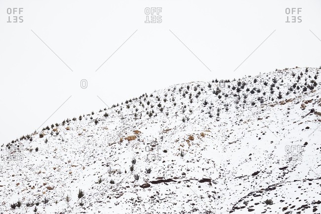 Snow covered hillside in Morocco