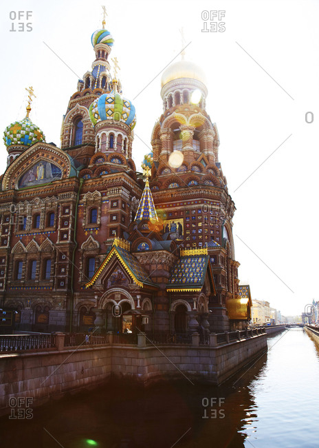 Church of the Savior on Spilled Blood on canal in St. Petersburg, Russia