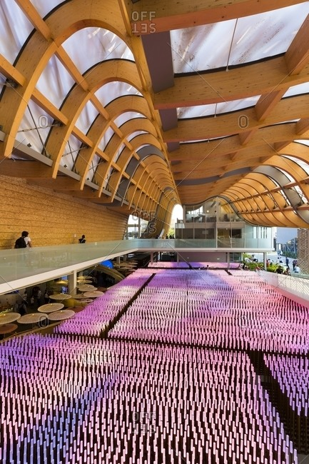 Milan, Italy - June 9, 2015: Artistic exhibition representing corn field inside China Pavilion, Milan, Italy