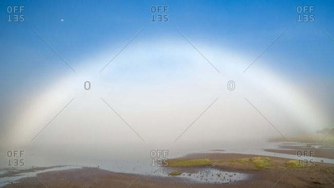 An incredible halo showed up in the morning during a very misty day, Western Highlands, Scotland