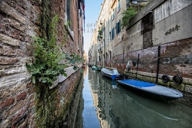 View of canal with boats, Venice, Italy