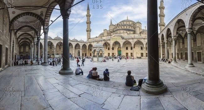 Istanbul, Turkey - June 16, 2014: Sultan Ahmed Mosque - The Blue Mosque