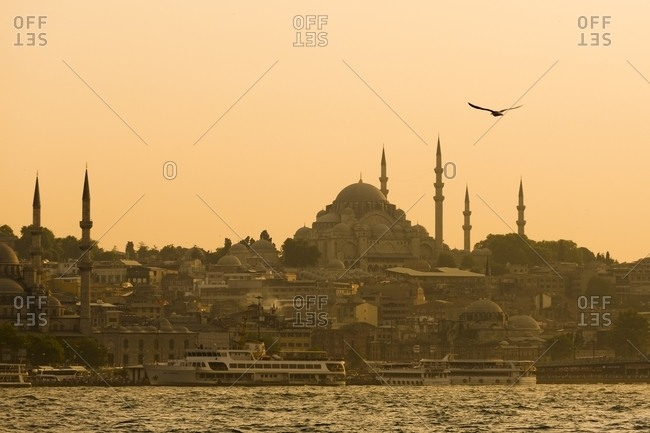 Istanbul skyline seen from the Bosphorus Strait