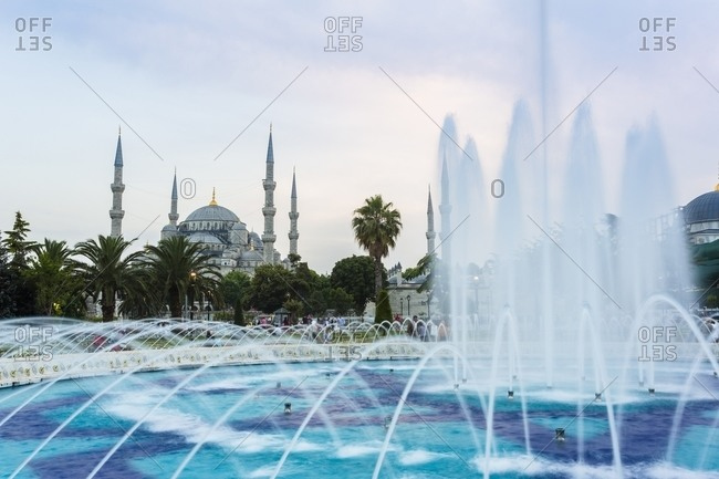 Istanbul, Turkey - June 18, 2014: Exterior of Sultan Ahmet Camii - The Blue Mosque and fountain