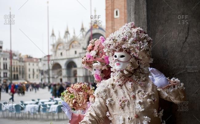 Masks in St. Mark's Square in Venice, Italy
