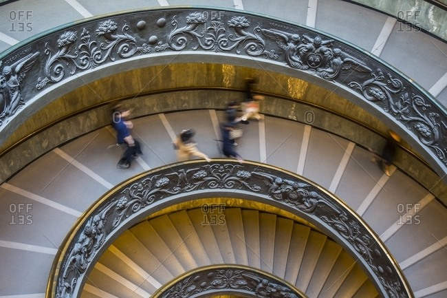 Rome, Italy - January 12, 2015: Vatican museum spiral staircase