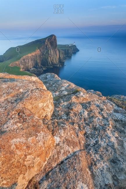 The view of Neist point lighthouse from the vertiginous cliffs, Neist Point, Highlands, Scotland