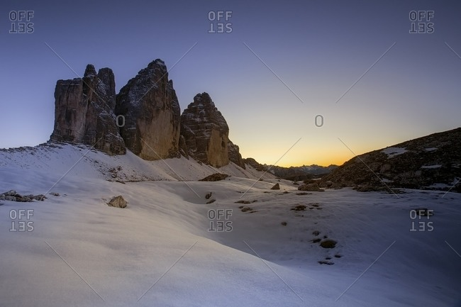 The blue hour over the Tre cime di Lavaredo, Bolzano, Italy