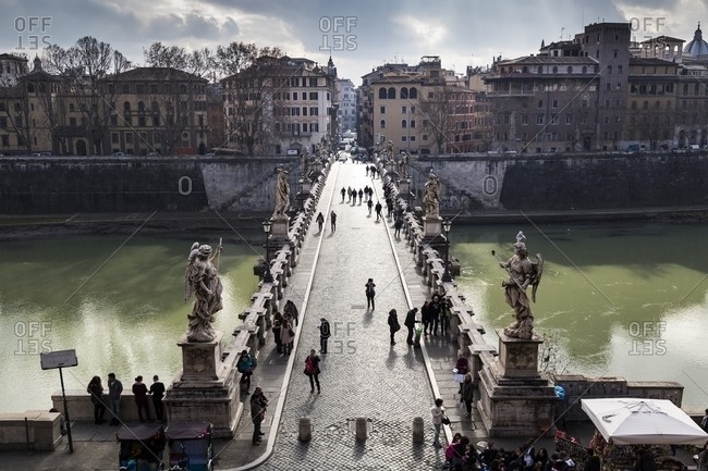 Rome, Italy - January 14, 2015: Bridge of Sant'Angelo castel