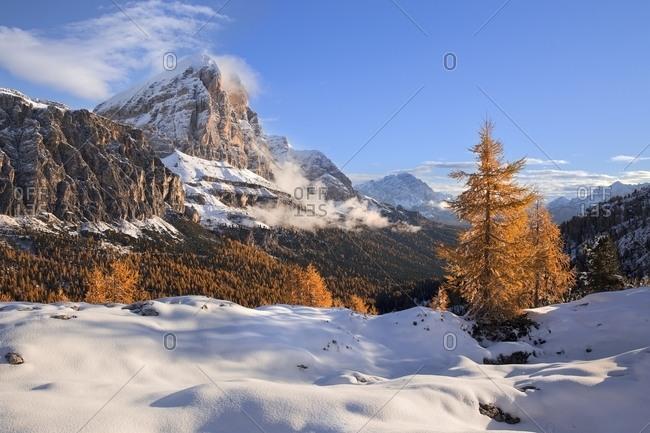 Tofana di Rozes in an autumn with snow, Belluno, Italy