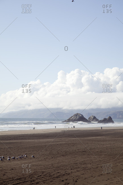 Flat sandy beach in Marin County, California