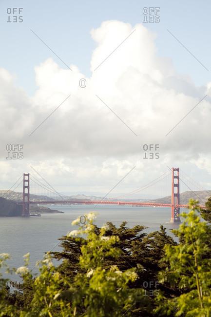 Golden Gate Bridge seen from a distant hilltop