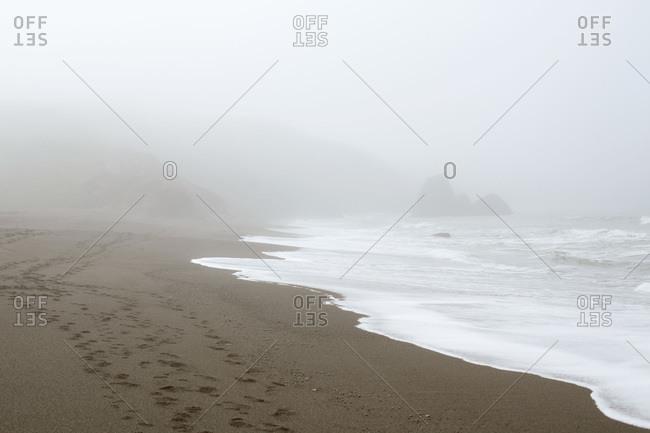 Footprints on a foggy beach shore