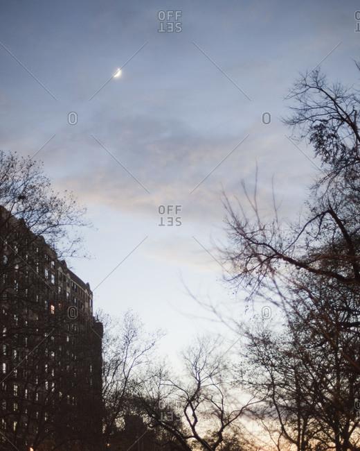 Twilight sky over a city apartment building
