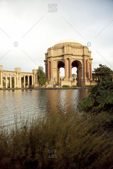 Lagoon and bushes at the Palace of Fine Arts, San Francisco