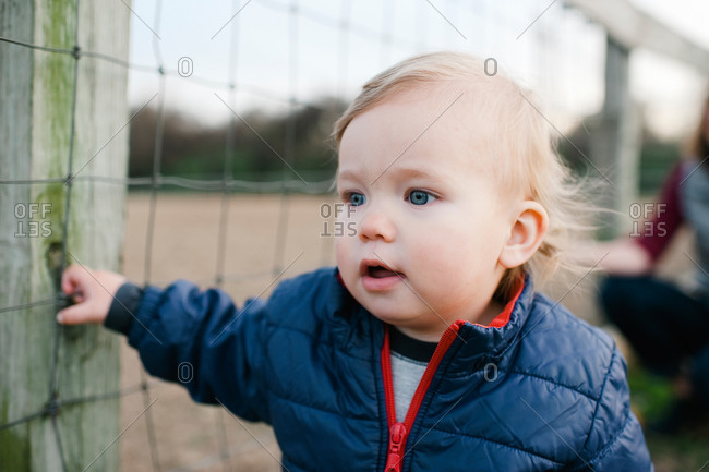 Portrait of toddler boy by a fence