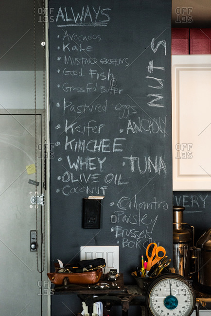 Chalkboard list of ingredients in a home kitchen