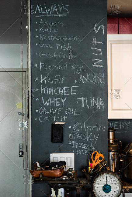 Chalkboard list of ingredients in a home kitchen