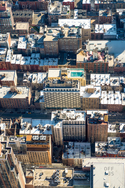 Overhead view of buildings in a densely populated urban district, New York