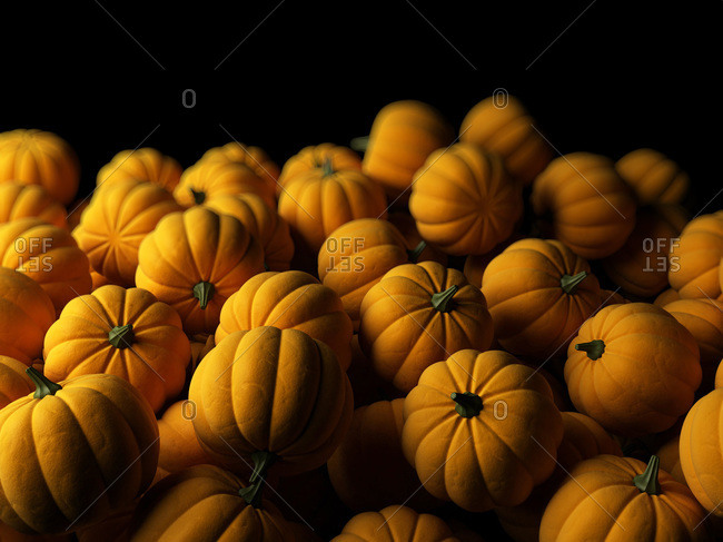 Digital illustration of a pile of pumpkins