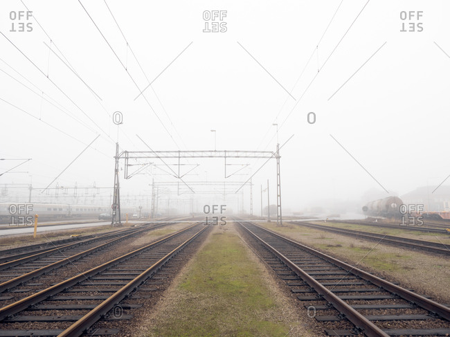 Multiple train tracks on a misty day