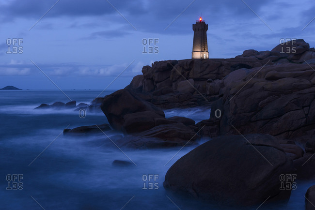 Lighthouse on coast of Brittany, France