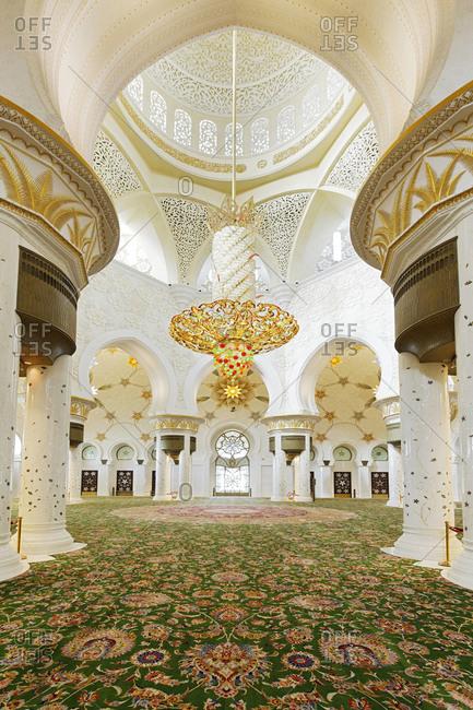 Abu Dhabi, UAE - October 25, 2011: Ornate mosque prayer hall