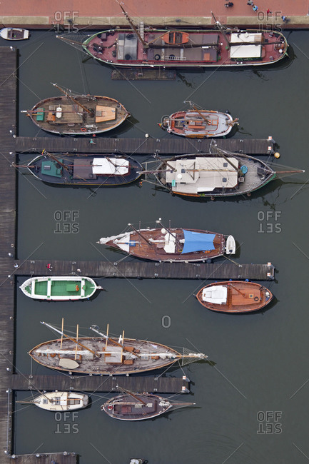 Aerial view of the seaport in Bremen, Germany