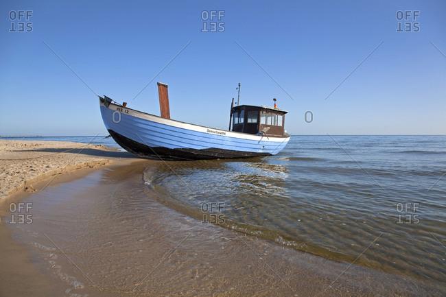 Heringsdorf, Germany - August 2009: Fishing boat on the beach