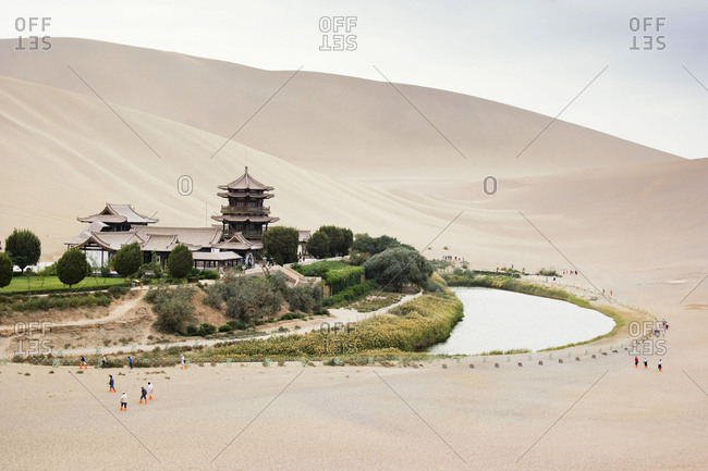 The Singing Sand Dunes and  Mingsha Shan in the Taklamakan Desert, China