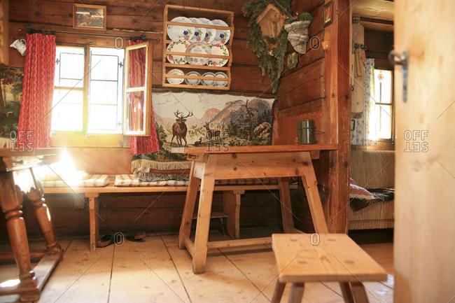 Interior of cozy cabin in Bavaria
