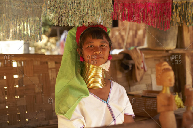 Mae Hong Son, Thailand - February 2011: Thai woman with long neck