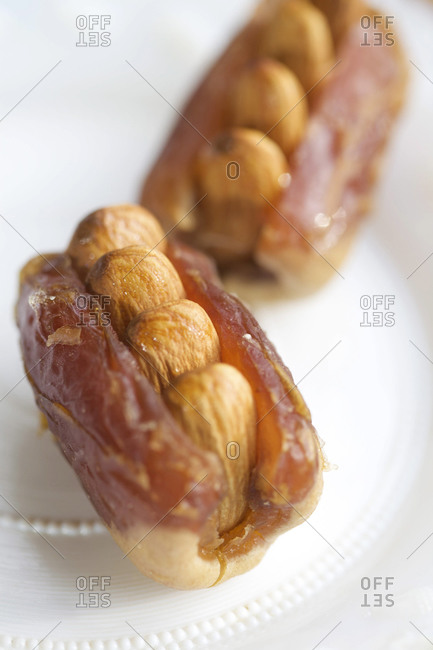 Dates filled with almonds, close up
