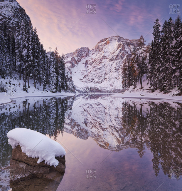 Winter peaks reflected in lake