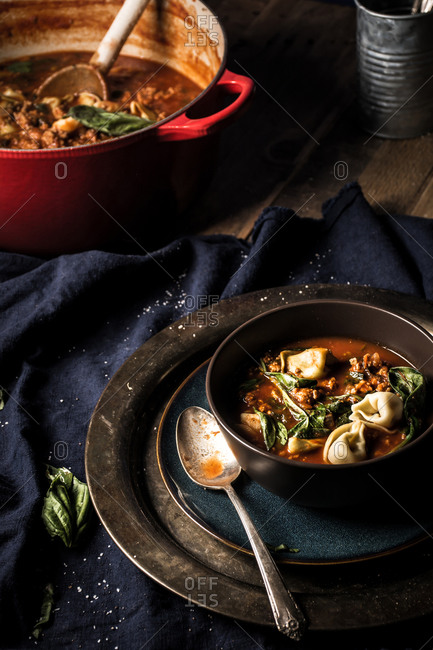 Bowl of hearty soup with tortellini