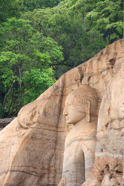Buddhist monument carved in the side of a cliff at Gal Vihara, Sri Lanka