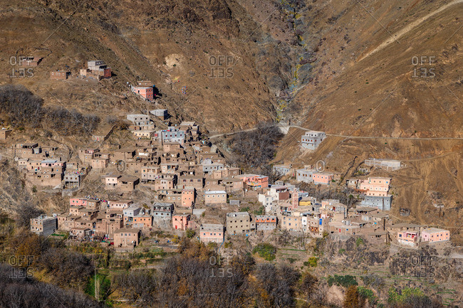 Mountainside berber village in the High Atlas Mountains, Morocco