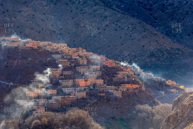 Aerial view of a berber village in the High Atlas Mountains, Morocco