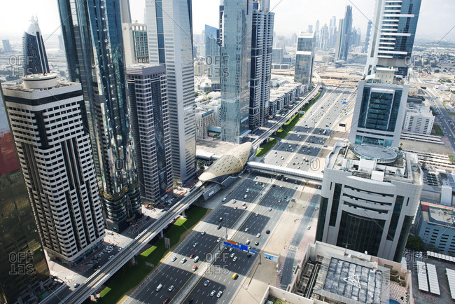 Overview of street and buildings in Dubai, United Arab Emirates